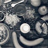 Concezione: Primo piano adeguato di vista superiore di nutrizione Prima colazione sana Fotografia Stock