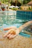 Conch υπό εξέταση της γυναίκας στην πισίνα Στοκ φωτογραφία με δικαίωμα ελεύθερης χρήσης