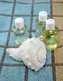 Conch sea and natural oils on bath towel Royalty Free Stock Images