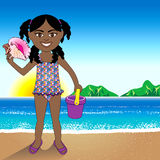 Conch Shell Beach Girl Royalty Free Stock Photos