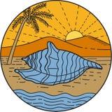 Conch Shell on Beach Mountain Sun Coconut Tree Mono LIne Royalty Free Stock Image