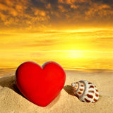 Conch shell with heart Royalty Free Stock Images
