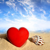 Conch shell with heart on beach Stock Images
