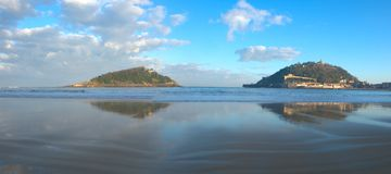 Concha beach in the Cantabrian Sea. Royalty Free Stock Photo