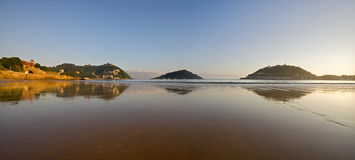 Concha beach and cantabrian sea, in Donostia Royalty Free Stock Photography