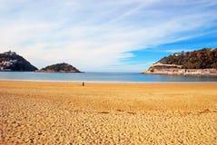 Concha Beach dans San Sebastian, Espagne Photographie stock
