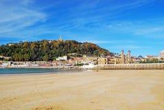 Concha Beach dans San Sebastian, Espagne Images stock