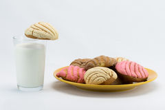 Concha Bread & Glass of Milk Stock Images