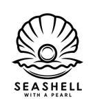 Concha do mar com ícone do esboço da pérola ilustração stock
