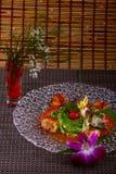Conchas de peregrino asadas a la parrilla con la salsa del teriyaki Fotografía de archivo libre de regalías