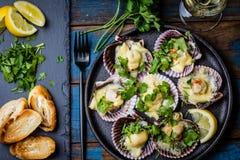 Conchas de peregrino cocidas con el limón, el cilantro, el pan y el vino blanco imagenes de archivo