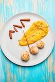 Conchas de peregrino fritas con puré de las zanahorias Fotos de archivo libres de regalías
