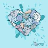 Conchas do mar ajustadas. Vetor Fotos de Stock