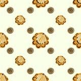 Conchas do mar amarelas ou fundo sem emenda do teste padrão das flores Imagem de Stock Royalty Free