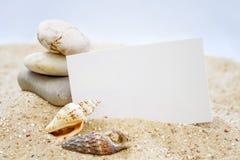 Conchas marinas con la tarjeta en blanco fotografía de archivo