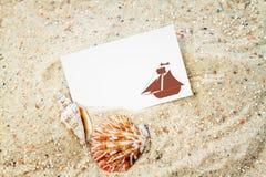 Conchas marinas con la tarjeta en blanco fotos de archivo