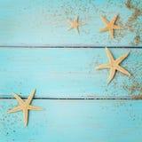 Conchas marinas del verano en fondo de madera imagen de archivo