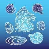 Conchas marinas en un fondo stock de ilustración