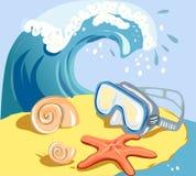 Conchas marinas, estrellas de mar, máscara subacuática en la playa Fotos de archivo libres de regalías