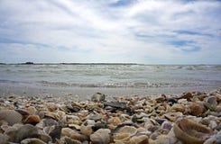 Conchas marinas, ondas, y un cielo azul nublado Foto de archivo libre de regalías
