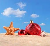 Conchas marinas y estrellas de mar de las decoraciones de la Navidad en una arena de la playa Imagen de archivo libre de regalías