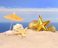 Conchas marinas y estrellas de mar de las decoraciones de la Navidad en una arena de la playa Fotos de archivo libres de regalías