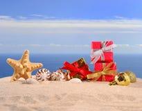 Conchas marinas y estrellas de mar de las decoraciones de la Navidad en una arena de la playa Fotografía de archivo