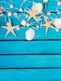 Conchas marinas y estrellas de mar en fondo de madera azul Fotos de archivo