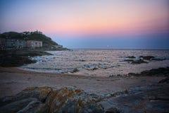 Concheira plaża w zmierzchu fotografia stock