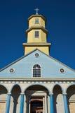 Conchi历史的教会在Chiloé海岛上的 图库摄影