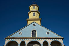 Conchi历史的教会在Chiloé海岛上的 库存图片