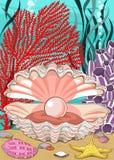 Conchiglia con la perla subacquea illustrazione vettoriale