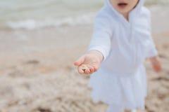 Conchiglia su un children& x27; mano di s Immagini Stock Libere da Diritti