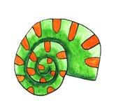 Conchiglia verde dell'acquerello royalty illustrazione gratis