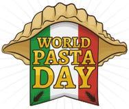 Conchiglie con Shell Shape y la bandera italiana para el día de las pastas, ejemplo del vector ilustración del vector