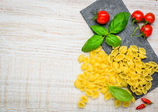 Conchiglie Rigate Pasta and Copy Space Royalty Free Stock Photos