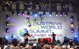 Conchita Wurst bij de Oostenrijkse Wereldtop, Wenen royalty-vrije stock afbeelding
