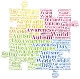 Conciencia del autismo de la nube de la palabra relacionada Imágenes de archivo libres de regalías