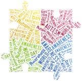 Conciencia del autismo de la nube de la palabra relacionada Imagenes de archivo