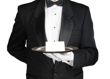 Concierge με τη σημείωση για το δίσκο στοκ φωτογραφίες