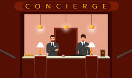 Concierge desk service. Front view of hotel concierge counter with two hotel employee. Stock Image