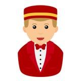 Concierge Man Avatar Flat Icon on White Stock Photos