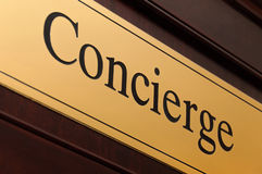 Concierge sign stock photo