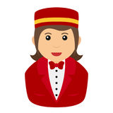 Concierge Woman Avatar Flat Icon on White Stock Photography