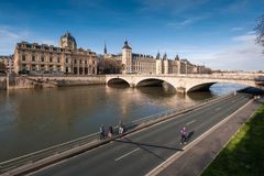 Conciergerie castle with Seine river Royalty Free Stock Images