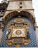 The Conciergerie Clock in Paris. The Conciergerie was the site of France's first public clock, installed around 1370 royalty free stock photography
