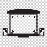 Concierte el diseño plano de la etapa y del simpl musical del equipo stock de ilustración