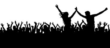 Concierto de la danza de fans, disco Silueta alegre de la muchedumbre La gente del partido, aplaude Pares jovenes en un partido ilustración del vector