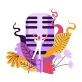 Concierto de la música, conductor que hace una pausa el micrófono grande para el vocalista ilustración del vector