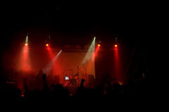 Concierto de rock con la demostración del laser Fotos de archivo